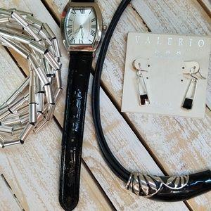 Silver, Black & Amber Jewelry Bundle